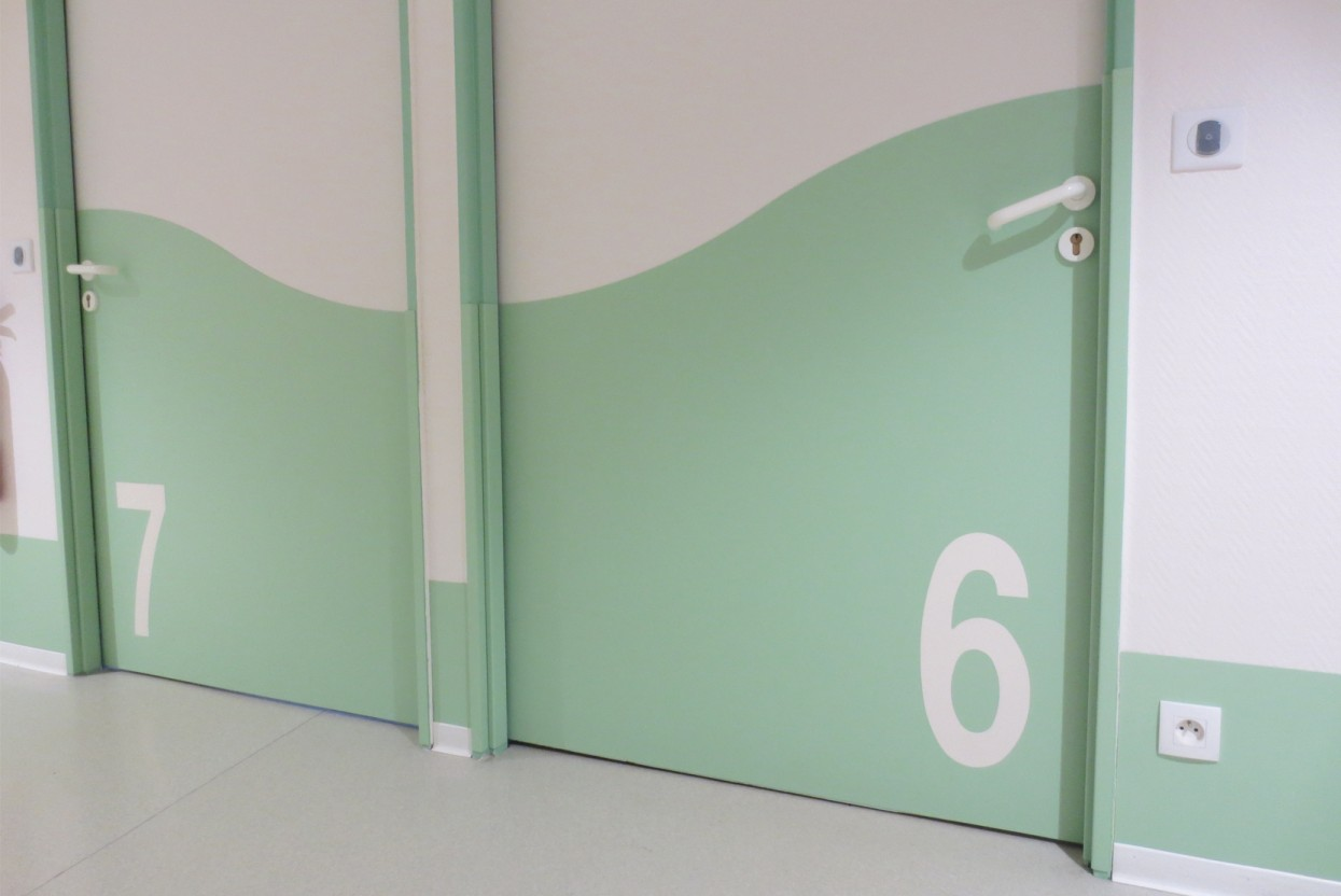 Inlaid Signage Door Protection Installation 1